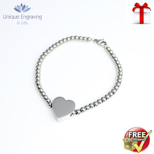 Unique Photo / Text Engraved 'Alessa' Heart Charm Bracelet