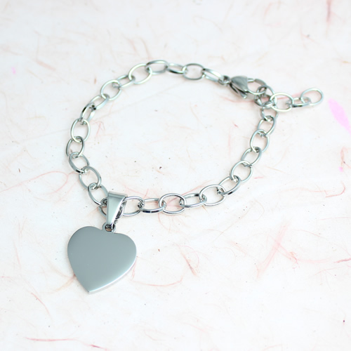 Unique Photo / Text Engraved 'Anastasia' Heart Charm Bracelet