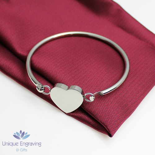 "Unique Photo / Text Engraved ""Athena"" Heart Bangle"
