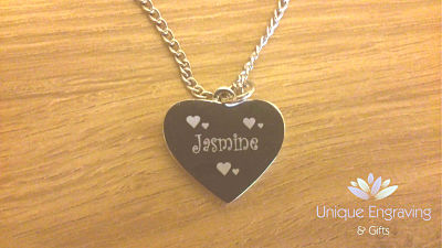 Unique Text Engraved Disney Frozen Heart Pendant