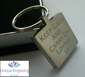 Unique Text Engraved Square Keyring
