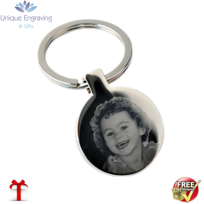 Unique Photo Engraved Round Keyring