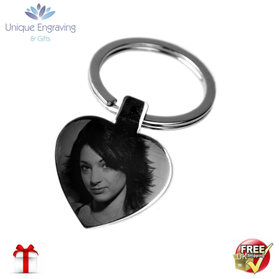 Unique Photo Engraved Heart Keyring