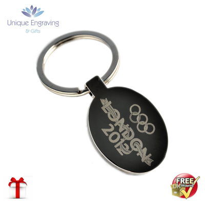 Unique Photo Engraved Oval Keyring
