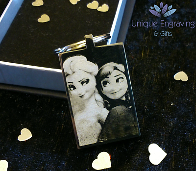 Unique Text Engraved Disney Frozen Anna and Elsa Keyring