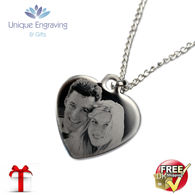 Unique Photo Engraved Heart Pendant - Click Image to Close