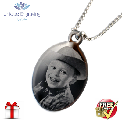 Unique Photo Engraved Oval Pendant