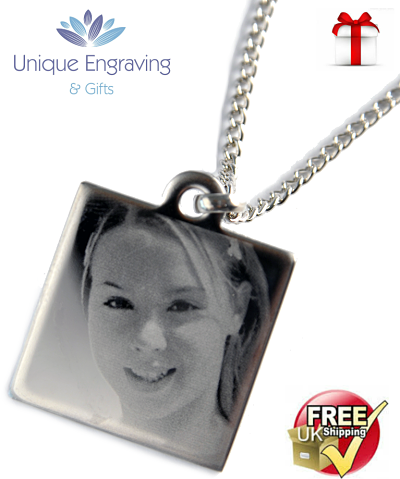 Unique Photo Engraved Square Pendant