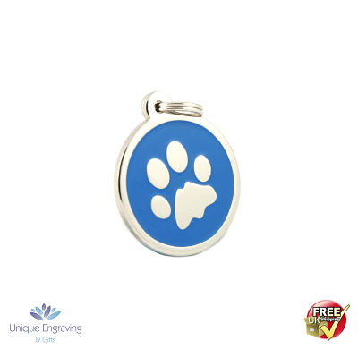 Unique Engraved Pet Tag Blue Paw