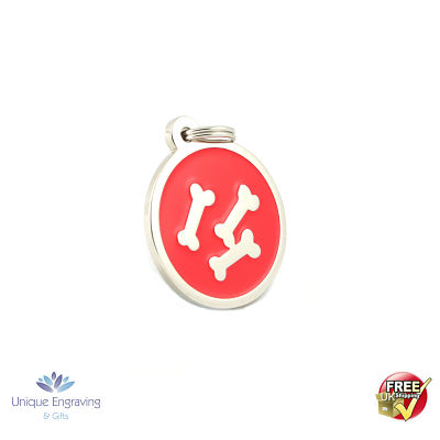 Unique Engraved Pet Tag Red Bone