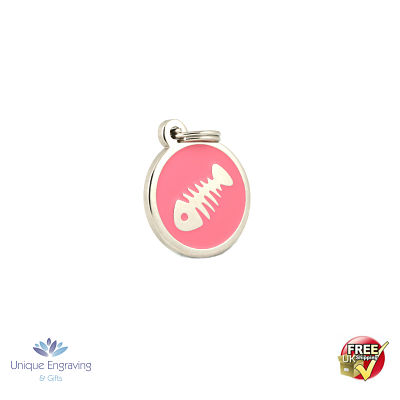 Unique Engraved Cat Tag Pink Fish