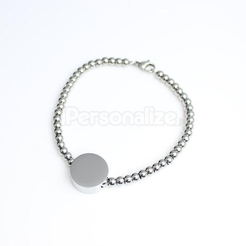 Unique Photo / Text Engraved 'Alessa' Round Charm Bracelet - Click Image to Close