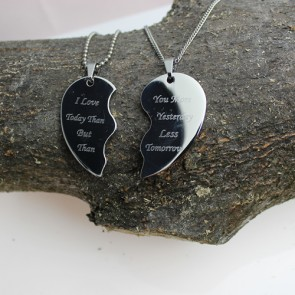 Unique Photo / Text Engraved Split Heart