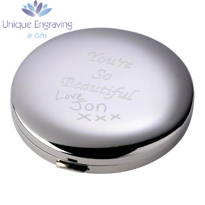 Unique Photo Engraved Ladies Compact Mirror