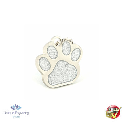 Unique Engraved Pet Tag Glitter Paw