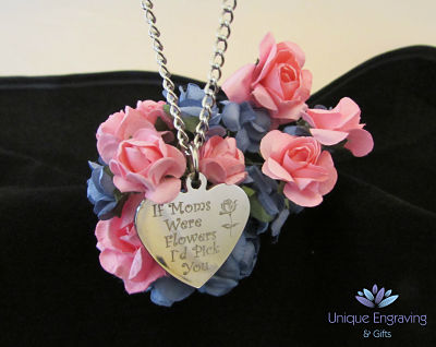Unique Text Engraved Heart Pendant