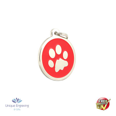 Unique Engraved Pet Tag Red Paw