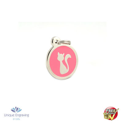 Unique Engraved Pet Tag Pink Kitty