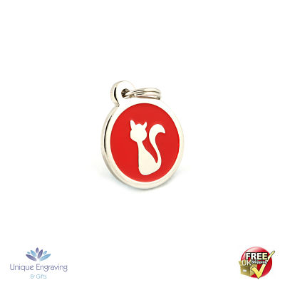 Unique Engraved Pet Tag Red Kitty