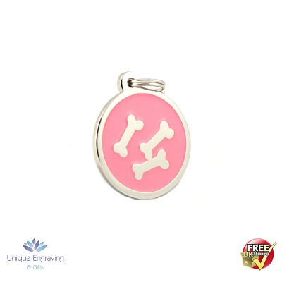 Unique Engraved Pet Tag Pink Bone